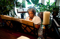 Burlyce Sherrell Logan (cq), a 73-year old woman who is graduating from the University of North Texas, plays the piano at home in Denton, Texas, Friday, May 6, 2011. Burlyce first attended the university in 1956, as part of.the group of African-Americans who were integrating it, but the atmosphere was so hostile she dropped out...Photo by Matt Nager..Photo by Matt Nager