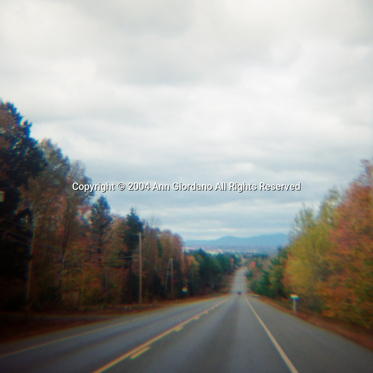 Driving on a country road in Autumn