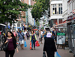 Busy shopping street in central Rotterdam, Netherlands