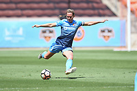 Houston, TX - Saturday May 13, 2017: Sky Blue FC defender Christie Pearce (3) during a regular season National Women's Soccer League (NWSL) match between the Houston Dash and Sky Blue FC at BBVA Compass Stadium. Sky Blue won the game 3-1.
