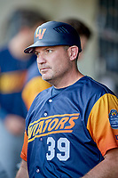 Las Vegas Aviators manager Fran Riordan (39) during the game against the Salt Lake Bees at Smith's Ballpark on July 20, 2019 in Salt Lake City, Utah. The Aviators defeated the Bees 8-5. (Stephen Smith/Four Seam Images)
