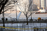 US Airways Flight 1549 moored in lower Manhattan at Battery Park City.  The Airbus A320 was en route to Charlotte, North Carolina from LaGuardia Airport when it hit a flock of birds and crashed in the Hudson River near 56th Street.  It then floated downriver.