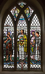 Church of John the Baptist, Barnby, Suffolk, England, UK stained glass window by Margaret Edith Aldrich Rope  1963 Jesus Christ, John the Baptist, Saint Peter, Saint John,