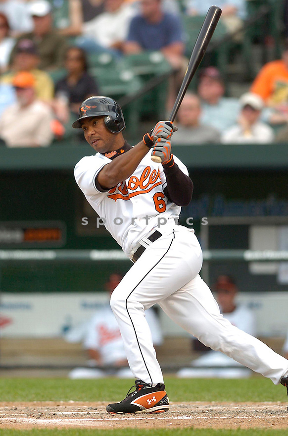 MELVIN MORA, of the Baltimore Orioles, in action during the  Orioles game against the Oakland A's in Baltimore Maryland on April 24, 2007...A's win 4-2...DAVID DUROCHIK / SPORTPICS..