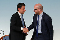 Giuseppe Conte and Minister of foreign affairs Lorenzo Fontana <br /> Rome July 11th 2019. The Italian Premier presents to the press the newly appointed Ministers<br /> Foto Samantha Zucchi Insidefoto