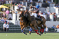 WELLINGTON, FL - FEBRUARY 05:  Diego Cavanaugh #4 of Valiente II and Nico Escobar #1 of Orchard Hill bump to gain control of the ball, during one of the early matches of the Ylvisaker Cup at the International Polo Club Palm Beach on February 05, 2017 in Wellington, Florida. (Photo by Liz Lamont/Eclipse Sportswire/Getty Images)