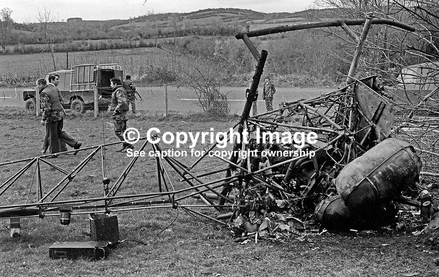 Burnt-out British Army Puma helicopter which crashed near Caledon, Co Tyrone, N Ireland, 18th April 1973, near the UK-Rep of Ireland Border. Two crew members escaped uninjured. 197304180206<br />