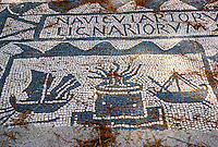 "Italy: Ostia--Mosaic of ships and lighthouse, Corporation stall. Lignum--wood ""a ship's master--and ""of or belonging to wood or a woodcutter"". Photo '83."
