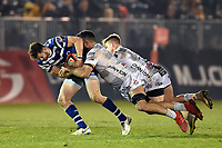 Max Wright of Bath United is double-tackled. Premiership Rugby Shield match, between Bath United and Gloucester United on April 8, 2019 at the Recreation Ground in Bath, England. Photo by: Patrick Khachfe / Onside Images