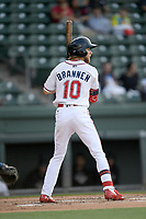Center fielder Cole Brannen (10) of the Greenville Drive bats in a game against the Hickory Crawdads on Wednesday, May 15, 2019, at Fluor Field at the West End in Greenville, South Carolina. Greenville won, 6-5. (Tom Priddy/Four Seam Images)