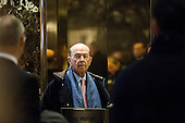 Wilbur Ross, United States President-elect Donald Trump's choice for Secretary of Commerce, arrives in the lobby of Trump Tower in Manhattan, New York, U.S., on Tuesday, December 13, 2016. <br /> Credit: John Taggart / Pool via CNP