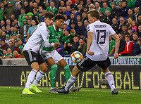 Kai Havertz (Deutschland, Germany), Lukas Klostermann (Deutschland Germany) können Jamal Lewis (Nordirland, Northern Ireland) nicht stoppen - 09.09.2019: Nordirland vs. Deutschland, Windsor Park Belfast, EM-Qualifikation DISCLAIMER: DFB regulations prohibit any use of photographs as image sequences and/or quasi-video.