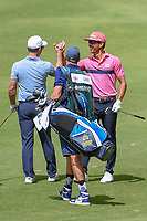Rafael Cabrera Bello (ESP) congratulates Paul Casey (GBR) after he holed out his approach shot on 14 during round 2 of the World Golf Championships, Mexico, Club De Golf Chapultepec, Mexico City, Mexico. 2/22/2019.<br /> Picture: Golffile | Ken Murray<br /> <br /> <br /> All photo usage must carry mandatory copyright credit (© Golffile | Ken Murray)