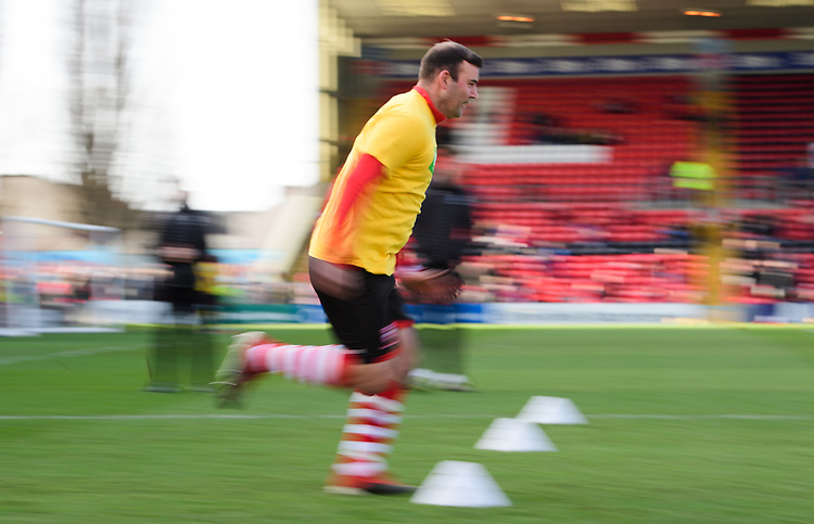 Lincoln City's Matt Rhead during the pre-match warm-up<br /> <br /> Photographer Chris Vaughan/CameraSport<br /> <br /> The EFL Sky Bet League Two - Lincoln City v Northampton Town - Saturday 9th February 2019 - Sincil Bank - Lincoln<br /> <br /> World Copyright © 2019 CameraSport. All rights reserved. 43 Linden Ave. Countesthorpe. Leicester. England. LE8 5PG - Tel: +44 (0) 116 277 4147 - admin@camerasport.com - www.camerasport.com