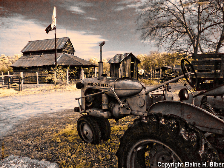 Old Allis-Chalmers tractor and barn