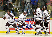 Brian Day (Colgate - 12), Francois Brisebois (Colgate - 13), Chris Wagner (Colgate - 23), Corbin McPherson (Colgate - 4) and Mike Leidl (Colgate - 22) celebrate Brian Day's goal which opened the game's scoring one minute into the second period. - The host Colgate University Raiders defeated the Army Black Knights 3-1 in the first Cape Cod Classic at the Hyannis Youth and Community Center in Hyannis, MA.