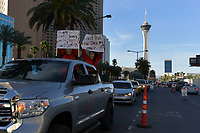 Las Vegas, NV - May 12: The Culinary Union hosts car caravan on Las Vegas Strip demanding casino companies share their full re-opening plans, and implement strong worker and tourist protections during the coronavirus pandemic in Las Vegas, Nevada on May 12, 2020. <br /> CAP/MPI/DAM<br /> ©DAM/MPI/Capital Pictures