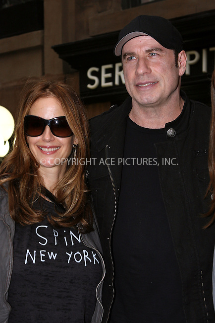 WWW.ACEPIXS.COM . . . . .  ....Exclusive - all rounder....April 13 2011, New York City....Actors John Travolta and Kelly Preston outside Serendipidy on April 13 2011 in New York City....Please byline: RIVERA/VAUGHAN - ACE PICTURES.... *** ***..Ace Pictures, Inc:  ..Philip Vaughan (212) 243-8787 or (646) 679 0430..e-mail: info@acepixs.com..web: http://www.acepixs.com