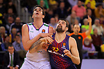 Turkish Airlines Euroleague 2017/2018.<br /> Regular Season - Round 13.<br /> FC Barcelona Lassa vs Unicaja Malaga: 83-90.<br /> Carlos Suarez vs Adrien Moerman.