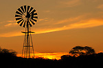 Sunset with wind pump, South Africa, September 2015