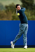 23.09.2014. Gleneagles, Auchterarder, Perthshire, Scotland.  The Ryder Cup.  Rory McIlroy (EUR) tees off on the 18th during his practice round.