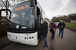 'Groundhoppers' boarding one of their specially-chartered buses before leaving for the Spartans versus University of Stirling Scottish Lowland League match at Ainslie Park, Edinburgh. The match was one of six attended by members of GroundhopUK over the weekend to accommodate groundhoppers, fans who attempt to visit as many football venues as possible. Around 100 fans in two coaches from England participated in the 2016 Lowland League Groundhop and they were joined by other individuals from across the UK which helped boost crowds at the six featured matches.