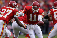 Chiefs quarterback Damon Huard hands off to Larry Johnson during the second quarter against the San Diego Chargers at Arrowhead Stadium  in Kansas City, MO on October 22, 2006. The Chiefs won 30-27.