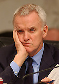 Washington, D.C. - April 13, 2004 --  National Commission on Terrorist Attacks Upon the United States (the 9-11 Commission) Commissioner Bob Kerrey listens to the testimony of John Ashcroft in Washington, DC on April 13, 2004.<br /> Credit: Ron Sachs / CNP<br /> [RESTRICTION: No New York Metro or other Newspapers within a 75 mile radius of New York City]
