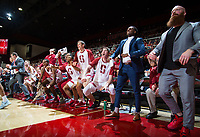 STANFORD, CA - January 26, 2019: Cory Schlesinger, Esayas Habtemariam, Keenan Fitzmorris, Sam Beskind, Rodney Herenton, Trevor Stanback, Kodye Pugh, Cormac Ryan, Isaac White, Jerod Haase at Maples Pavilion. The Stanford Cardinal defeated the Colorado Buffaloes 75-62.