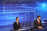 OSASCO, SP, 03 SETEMBRO DE 2012 – DEBATE REDETV – ATENÇÃO EDITOR: FOTO EMBARGADA PARA VEÍCULOS INTERNACIONAIS: Candidato a prefeitura de São Paulo Celso Russomano (e) Fernando Haddad (d) durante debate realizado na noite desta segunda feira (03) pela RedeTV, na sede da emissora em Osasco. (FOTO: LEVI BIANCO / BRAZIL PHOTO PRESS).