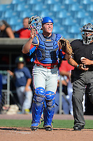 Catcher Taylor Sanagorski (22) of Bishop Carroll Catholic High School in Wichita, Kansas playing for the Philadelphia Phillies scout team during the East Coast Pro Showcase on July 31, 2013 at NBT Bank Stadium in Syracuse, New York.  (Mike Janes/Four Seam Images)
