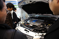 Toyota fuel cell powered vehicle, Fuel Cell Expo, Tokyo Big Site, 27 Feb 2009.The expo is the worlds largest hydrogen and fuel cell event. 26,240 people attended over the 25th to 27th February 2009.