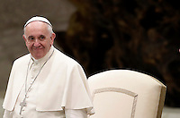 Pope Francis arrives to lead  his weekly general audience in Paul VI hall at the Vatican on November 30, 2016. <br /> UPDATE IMAGES PRESS/Isabella Bonotto<br /> <br /> STRICTLY ONLY FOR EDITORIAL USE