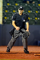 Umpire Alex Ransom during a game between the Huntsville Stars and Tennessee Smokies on April 16, 2013 at Joe W Davis Municipal Stadium in Huntsville, Alabama.  Tennessee defeated Huntsville 4-3.  (Mike Janes/Four Seam Images)