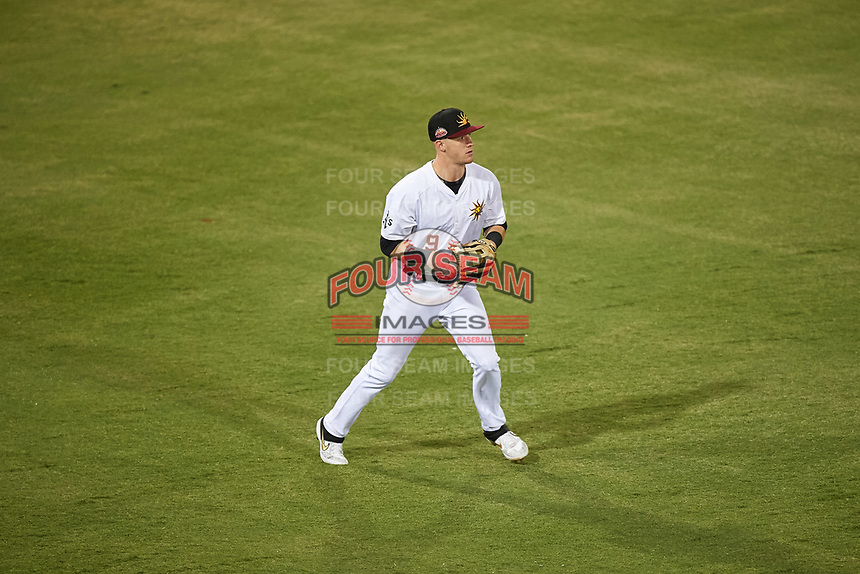 Mesa Solar Sox left fielder Greg Deichmann (9), of the Oakland Athletics organization, during an Arizona Fall League game against the Peoria Javelinas on September 21, 2019 at Sloan Park in Mesa, Arizona. Mesa defeated Peoria 4-1. (Zachary Lucy/Four Seam Images)