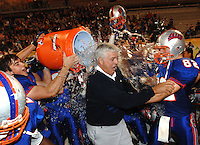 The Bolles School head coach Corky Rogers receives an ice water dousing from his players following the Bulldogs victory to win the FHSSA 2008 Class 2A State Championship in Orlando, Fl. (The Florida Times-Union, Rick Wilson)