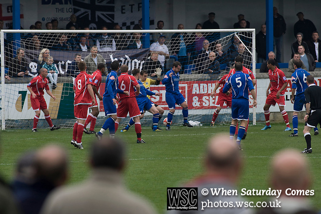 Matlock Town 0 Eastwood Town 3, 09/10/2010. Causeway Lane, FA Cup 3rd qualifying round. Spectators watching the action during the FA Cup 3rd qualifying round tie between Matlock Town (blue) and Eastwood Town at Causeway Lane, Matlock. The visitors from Nottingham who play one division higher than Matlock won by three goals to nil to move to within one round of the FA Cup 1st round proper. The match was watched by 655 spectators. Photo by Colin McPherson.