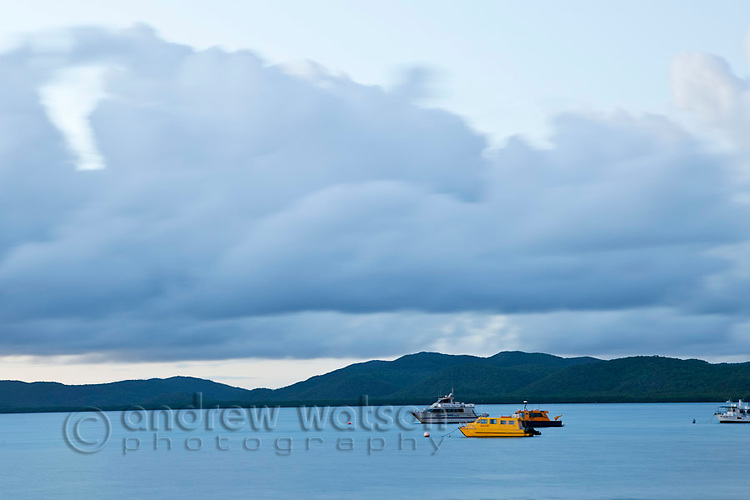 Boats moored in Ellis Channel.  Thursday Island, Torres Strait Islands, Queensland, Australia