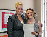 Kasey Lafoon, right, and Board Member Tricia Gallenbeck during the Nevada Women's Fund Scholarship distribution, June 20, 2019.