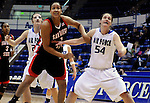 February 3, 2010:  San Diego State forward, Jessika Bradley (1), controls the lane during Mountain West Conference action between San Diego State and Air Force at Clune Arena, U.S. Air Force Academy, Colorado Springs, Colorado.  San Diego State defeats Air Force 68-48.