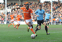 Blackpool's Nathan Delfouneso under pressure from Southend United's Harry Lennon<br /> <br /> Photographer Kevin Barnes/CameraSport<br /> <br /> The EFL Sky Bet League One - Blackpool v Southend United - Saturday 9th March 2019 - Bloomfield Road - Blackpool<br /> <br /> World Copyright © 2019 CameraSport. All rights reserved. 43 Linden Ave. Countesthorpe. Leicester. England. LE8 5PG - Tel: +44 (0) 116 277 4147 - admin@camerasport.com - www.camerasport.com