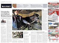 Helsingin Sanomat (Finnish daily) on horse breeding and slaughter in Romania, 2013.02.13. <br />