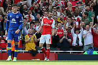 Aaron Ramsey of Arsenal celebrates scoring the third goal during Arsenal vs Everton, Premier League Football at the Emirates Stadium on 21st May 2017