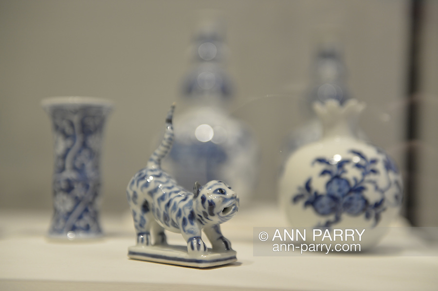 Roslyn, New York, USA. January 2, 2015. Figure of a Tiger, China, Qing Dynasty, Kangxi period (1662-1722), is on display with other blue and white China at the Nassau County Museum of Art China Now and Then Exhibit on Long Island.