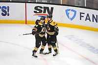 June 6, 2019: Boston Bruins left wing Jake DeBrusk (74) and center Joakim Nordstrom (20) on the ice during game 5 of the NHL Stanley Cup Finals between the St Louis Blues and the Boston Bruins held at TD Garden, in Boston, Mass. The Blues defeat the Bruins 2-1 in regulation time. Eric Canha/CSM