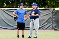 19 September 2012: France Thomas Langloys is seen next to Team Manager Jim Stoeckel prior to Team France friendly game won 6-3 against Palm Beach State College, during the 2012 World Baseball Classic Qualifier round, in Lake Worth, Florida, USA.