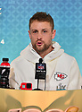 MIAMI, FL - JANUARY 27: Kansas City Chiefs Punter Dustin Colquitt (#2) answers questions from the media during the NFL Super Bowl ( LIV)(54) Opening Night at Marlins Park on January 27, 2020  in Miami, Florida. ( Photo by Johnny Louis / jlnphotography.com )