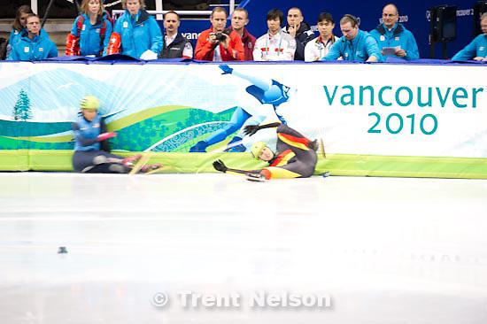 Trent Nelson  |  The Salt Lake Tribune.Ladies' 1500m, Short Track Speed Skating, at the XXI Olympic Winter Games in Vancouver, Saturday, February 20, 2010. heat 6 Lee Eun-Byul (140, kora), Hiroko Sadakane (japan, 134), Marina Georgieva-Nikolova (103), Allison Baver (153, USA), Aika Klein (120, germany), Rozsa Darazs (122)