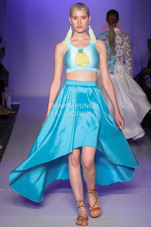 Model walks runway in an outfit from the Canelas Spring Summer 2016 collection by Leticia Torres, at Fashion Gallery NYFW Designer's Showcase Spring Summer 2016 show, during New York Fashion Week.
