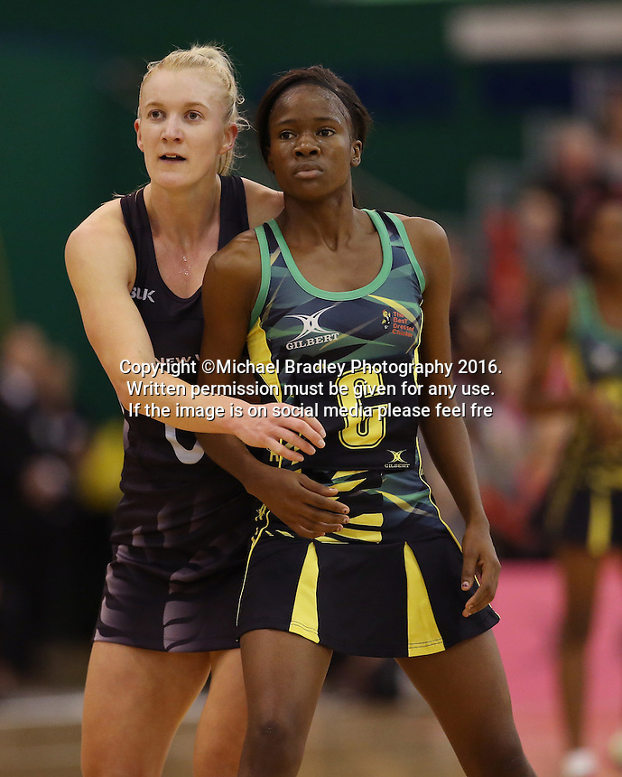 14.09.2016 Silver Ferns Shannon Francois and Jamacia's Nicole Dixon in action during the Taini Jamison netball match between the Silver Ferns and Jamaica played at Arena Manawatu in Palmerston North. Mandatory Photo Credit ©Michael Bradley.